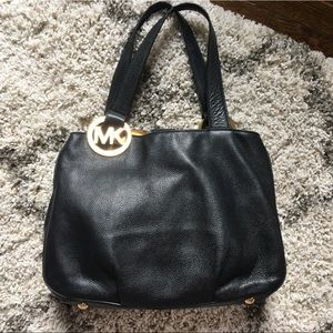 Michael Kors black leather satchel  w gold accents